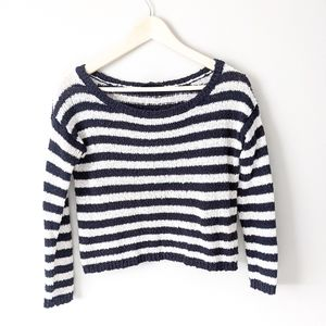 Aritzia Talula Striped Cropped Knit Sweater